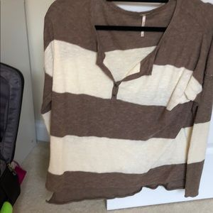 Oversized free people beige and brown sweater